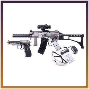 GFRPKTGS game face airsoft Ghost rifle along with spring pistol.