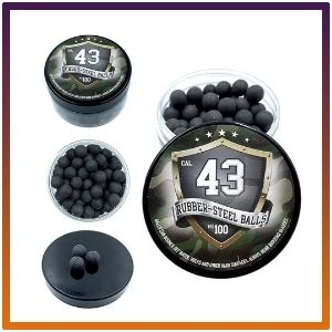 Premium quality dual-material rubber and steel paintball round shells for protection and self-defense.
