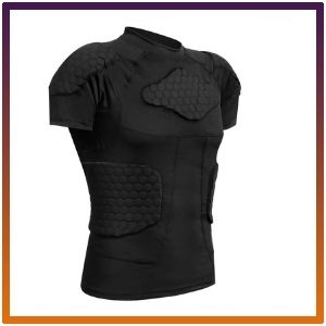 Zicac Men's Sports Shock Rash Guard Compression Padded Shirt<br />